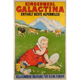 "Original Vintage Swiss Poster ""Galactina"" Children Flour ca. 1930"