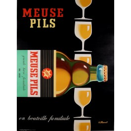 """Original Vintage French Poster """"Meuse Pils"""" Beer by B. VILLEMOT 1970's"""