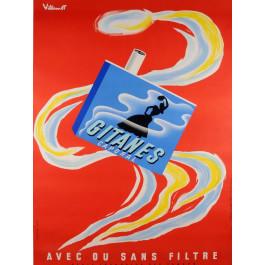 """Original Vintage French Poster """"Gitanes Caporal"""" Cigarettes by VILLEMOT 1970's"""