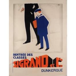"Original Vintage French Advertising Poster ""Rentrée des classes-Sigrand et Cie"""