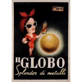 "Original Vintage Italian Poster ""Il Globo"" Metal Polish by DAMIANI 1949"