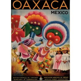 Original Vintage Travel Poster OAXACA Mexico by Covarrubia 1950´s