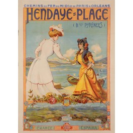 Original Vintage Poster Advertising Hendaye-Plage France-Espana by NYK 1920's