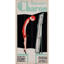 Original Art Deco Vintage French Poster Advertising Chaussures CHARON Shoes