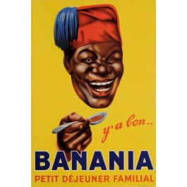"""Original Vintage French Poster Advertising Chocolate Drink """"Banania"""" Cocoa 1953"""