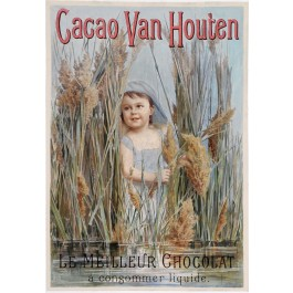 "Original Vintage Dutch Poster Chocolate ""Cacao Van Houten"" ca. 1900"