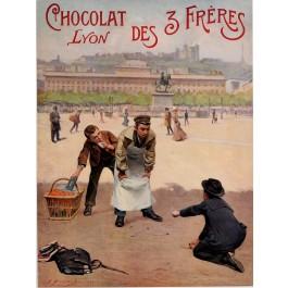 "Original Vintage French Poster ""Lyon - Chocolat des 3 Frères"" by  Pierre Bonnard 1901"