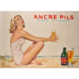 An Original French Advertising poster for Ancre Pils - Biére D'Alsace