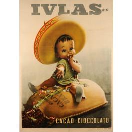 "Original Vintage Italian Poster for ""IVLAS"" Cacao and Cioccolato by Boccasile"