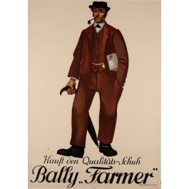 "Original Vintage Swiss Poster for ""Farmer"" shoes by Bally"