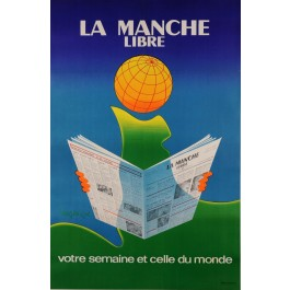 "Vintage French Poster Advertising the News Paper ""La Manche Libre"" Verdier 1976"