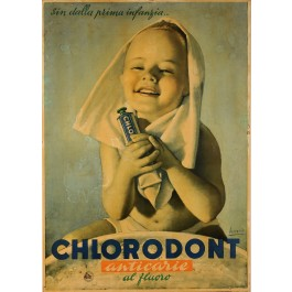 "Original Vintage Italian Poster for ""Chlorodont"" Tooth Paste by BOCASSILE 1950's"
