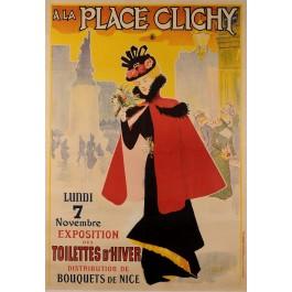"""Original Vintage French Poster """"Les Place Clichy"""" by Paul Destez ca. 1900"""