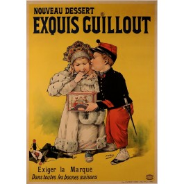 """Original Vintage French Poster """"Exouis Guillout"""" Egg Cookies  by H. Gray 1890"""