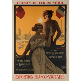 Original Vintage French Poster Chemin de fer du Nord - Expo Franco-Ang ca. 1920