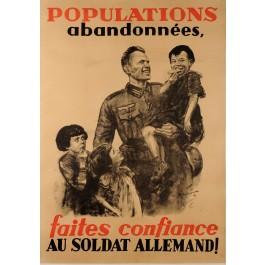 "Original Vintage French WW2 Propaganda Poster ""Populations Abandonnees"" 1940"