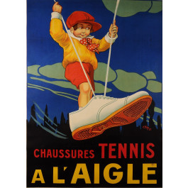 "Original Vintage French Poster ""A L'Aigle"" Tennis Shoes by ALY 1923"