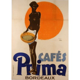 Original Vintage French Coffee Poster Advertising Cafés Prima 1928