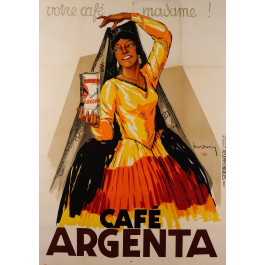 """Original Vintage French Poster Advertising """"Cafe Argenta"""" by Leon Dupin 1934"""