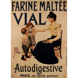 "Original Vintage French Poster Advertising ""Farine Maltee VIAL"" Flour ca. 1920"