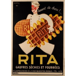 "Original Vintage Belgian Poster for ""Rita"" Waffle Biscuit by Leon Dupin 1933 On Paper"
