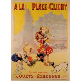 "Original Vintage French Poster for ""La Place Clichy"" Maurice Newmont ca. 1900"