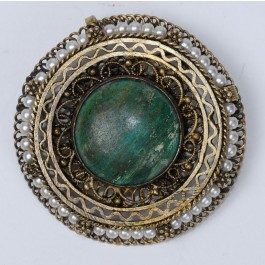 Original Silver Broach Filigree work 1950's, Mounted with Eilat stone