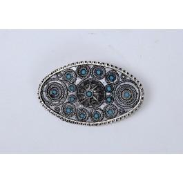 Vintage Bezalel Israel Oval Ethnic Silver Filigree Pin Brooch Turquoise Stones