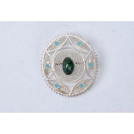 Original Silver Broach Filigree work 1950's, Eilat stone and Turquoise