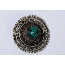 "Vintage Bezalel Zaida Israel Round Ethnic Silver Filigree Pin Brooch Central ""Eilat Stone"""