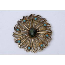 """Vintage Bezalel Israel Round Ethnic Silver Filigrin Pin Brooch """"Eilat Stone"""" And Torquize."""