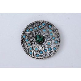 """Vintage Bezalel Israel Round Ethnic Silver Filigree Pin Brooch """"Eilat Stone"""" And Turquoise"""