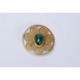"Vintage Bezalel Israel Round Ethnic Silver Filigree Pin Brooch Central ""Eilat Stone"""