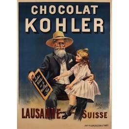 "Original Vintage French Poster for ""Chocolat Kohler"" by Georges Blott 1898"
