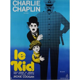"""Original Vintage French Movie Poster for Charlie Chaplin """"Le Kid"""" by Leo Kouper"""