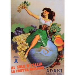 "Vintage Italian Poster for ""Adani"" Fruits by Boccasile Later Printing"