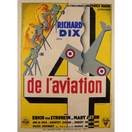 "Original Vintage French Movie Poster Advertising ""4 de L'Aviation"" by BRUNYER"