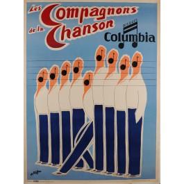 """Original Vintage French Poster Advertising """"Les Compagnons de la Chanson"""" 1950's"""