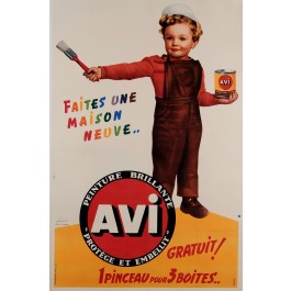 "Original Vintage French Poster Advertising ""Avi"" Exterior Paints by Francis 50's"