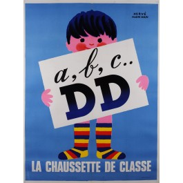 "Original Vintage French Poster Advertising ""Doré  Doré"" DD Socks by Hervé Morvan"
