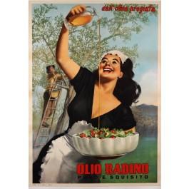 "Original Vintage Italian Poster for ""Olio Radino"" Olive Oil by Gino Boccasile"
