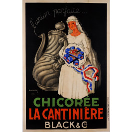 """Original Vintage French Poster for """"Chicoree La Cantiniere"""" Coffee Cafe by DUPIN"""