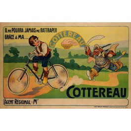 """Original Vintage French Poster Advertising """"Cottereau Bicycle"""" ca. 1910"""