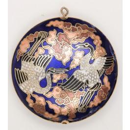 Vintage Antique Japanese Blue Pendant Niello Cranes