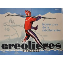 "Original French Ski Travel Poster ""GREOLIERES LES NEIGES"" by Vandieres 1963"
