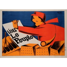 "Original Vintage French Poster for ""Le Peuple"" Newspaper by F. Kersters 1930"