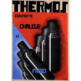Original Vintage Art Deco Maquette Poster for Thermos