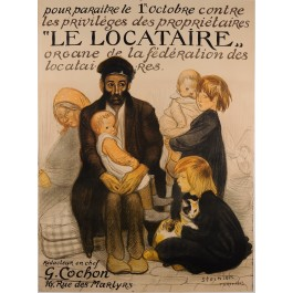 """Original Vintage French Poster for """"Le Locataire"""" (The Tenant) by Steinlen 1913"""