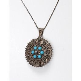 Artisan Ethnic Israeli 925 Sterling Silver Turquoise Handmade Brooch or Pendant
