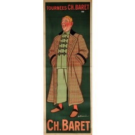"""Original Vintage French OVERSIZE Poster for """"Ch Baret"""" Theatre Performer by ADRIEN BARRERE ca. 1900"""